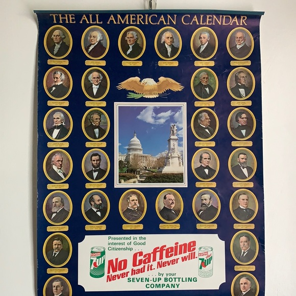 """Vintage Other - 31""""x16"""" The All American Calendar Presidents 1983"""